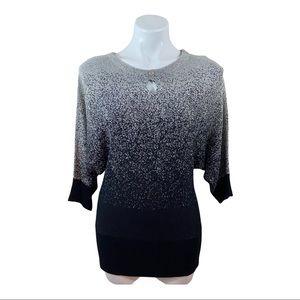 Hannah Knit Top Blouse Metallic Silver & Black